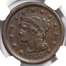 1857 N-1 NGC AU 53 Lg Date Braided Hair Large Cent Coin 1c