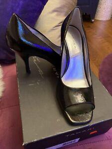 Tahari Patent Peep toe Black Pumps S 7.5 NIB