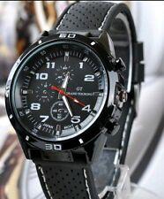 Black GT Sport Mens WristWatch Boy Male Quartz Analog Silicone Stainless Steel