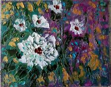 original oil painting -White blossoms with rose - direct fr California artist