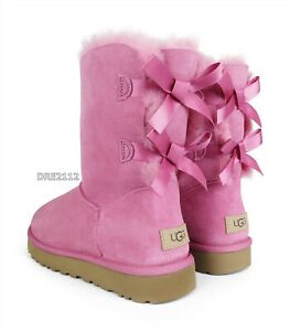 UGG Bailey Bow II WIld Berry Suede Fur Boots Womens Size 7 *NEW*