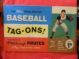 1960 Pittsburgh Pirates plastic Tag Ons Tag Outs Clemente container stickers