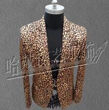 Men Classical Leopard Suit Blazer Nightclub Coat Slim Jacket Clubwear Costume