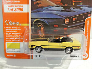 JOHNNY LIGHTNING CLASSIC GOLD 1A - BRIGHT YELLOW 1972 FORD MUSTANG CONVERTIBLE