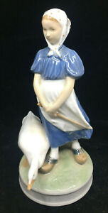 Royal Copenhagen Figurine Goose Girl 527 Danish Blue White Vintage Denmark 9""