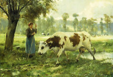 """Oil painting countrywoman with milk cows landscape Russian Shishkin Levitan 36"""""""