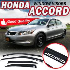 For 94-97 Honda Accord Window Visor Sedan 4Dr Vent Shades Slim Dark Smoke W/Logo