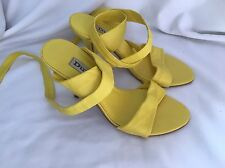 Dune Yellow leather tie up the leg classy strappy shoes Size 4 (37)