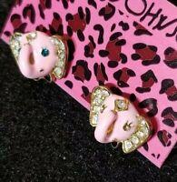 Betsey Johnson Fashion Jewelry Rhinestone Pink Enamel Elephant head earring