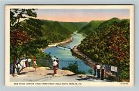 New River Canyon WV, Hawks Nest Rock State Park, Linen West Virginia Postcard