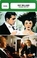 Card Actor. Fiche Cinéma acteur. Ray Milland (USA) période 1952-1979