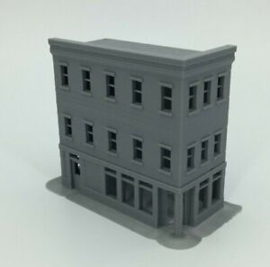 20th Century 3 Story Corner Shop Building - Z Scale 1:220 - 3D PRINTED Model USA