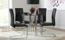 Solar & Perth Glass & Chrome Dining Table And 4 Chairs Set (Black)