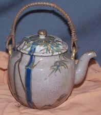 Antique Japanese Satsuma Yellow Ware Mini/Single Teapot-Signed-Bamboo Design