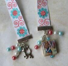 Alice in Wonderland Ribbon Bookmark Cheshire Cat Vintage Altered Art Charm