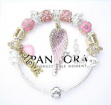 Authentic Pandora Sterling Silver Bracelet with Pink Angel Love European Charms