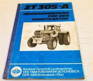 Fortschritt ZT305-A Hangtraktor Bedienungsanleitung Betrieb Wartung 1982