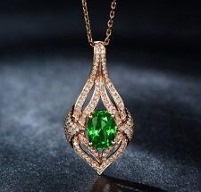 Solid 18Kt Rose Gold Natural Gorgeous Green Tsavorite Garnet Diamond Pendant