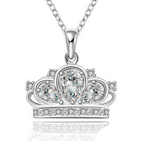 PRINCESS CROWN NECKLACE - 925 Sterling Silver - Queen Crown Charm Necklace NEW