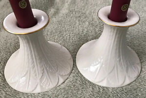 "Pair of Perfect LENOX Feather Pattern Candlesticks, Fine Ivory China. 3.5"" Tall"