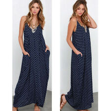 Plus Size Womens Boho Spaghetti Straps Polka Dots Printed Loose Long Maxi Dress