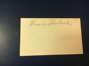 original baseball HOF player ERNIE LOMBARDI SIGNED INDEX CARD (deceased 1977)