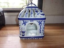 Unique Vintage Blue Willow Pottery Hanging Birdhouse Lantern or Feeder ~EVC~