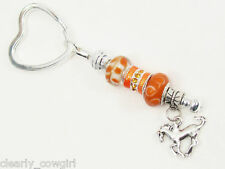 #5749 -- EUROPEAN 925 SILVER CORE ORANGE BEADED HEART SPLIT RING KEY CHAIN -WOW!