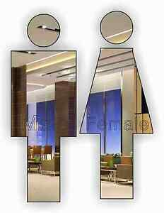 """""""Male/Female Acrylic Mirror Sign"""" For Toilet Door,Custom Size,Personalised Name"""