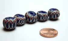 5 x Recyled poudre Verre Krobo DOGON Beads peintes à la main chevron verni
