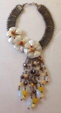 Stunning and Unique Crystal and Shell Floral Design Statement Necklace