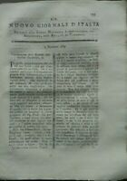 1789 NUOVO GIORNALE D'ITALIA SU ZUCCHERO; COLTURA NELL'ISOLA DI LESINA; LUNARI