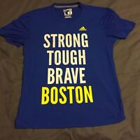 Adidas Boston Marathon Strong Tough Brave Climalite T-Shirt Large Ultimate Tee