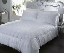 SUPER KING SIZE DUVET COVER SET LUXURIOUS LACE DETAIL POLYCOTTON WHITE ELEGANCE