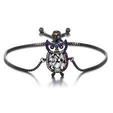 Grey Black Friendship Slim Thin with CZ Rhinestones Owl Charm Slider Bracelet