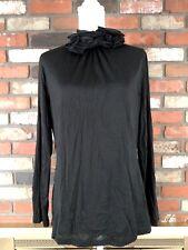 Etcetera Womens 100% Silk Black Ruffled Flower Turtle Neck Long Sleeve Top Sz XL