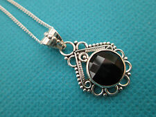 """925 Sterling Silver Black Onyx Checker Board Faceted Pendant, 18"""" Chain (nk1379)"""