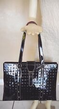 Arcadia Black Patent Leather Monogram Kelly Style Handbag