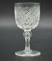 """Dorflinger American Brilliant Period Strawberry Diamond & Fan 4 1/4"""" Wine Glass"""