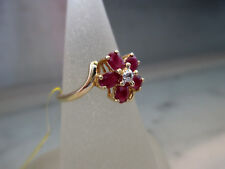 Antique style Solid 14k Yellow Gold Natural Ruby and Natural Diamonds Ring,2.6gm