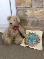 "Knickerbocker Mohair Teddy Bear 11"" Bea 1670 Jointed Sewing Scissors Embroidery"