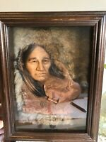 Rare Native American Indian Neil J Rose White Tail Shadowbox 739/2500 Folk Art