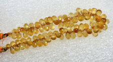 Natural Golden Citrine Drilled Briolette Cut Drops Faceted Beads 70.00 Cts 6""