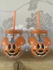 More details for 2x disney mickey pumpkin mason jars/drink/ sweetie jar bnwt