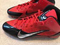 Nike Alpha Pro Mid 3/4 Men's Football Lacrosse Cleats Size 13.5 Red Black