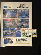 DECALS 1/24 PEUGEOT 206 WRC PANIZZI RALLYE ITALIE SAN REMO 2000 RALLY TAMIYA