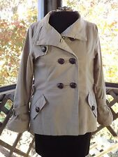 Brown Canvas Jacket Womens Military Short Trench Coat Button Up Size 10 Large