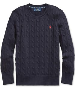 POLO RALPH LAUREN BOYS NAVY PULLOVER LONG SLEEVE SWEATER Size L(14-16) NAVY NWT