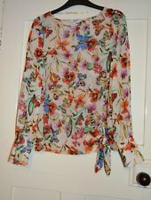 New Look Pretty Ladies Sheer Top, Cream Floral, Butterflies, Size; 8, VGC