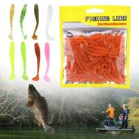 50PCS 5cm Soft Plastic Fishing Lures T-Tail Grub Worm Bait Fish Tackle Accessory